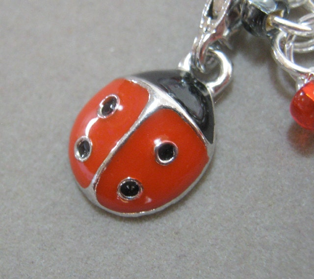 Lady Bug Charm Bracelet Chainmaille with Czech Glass Beads