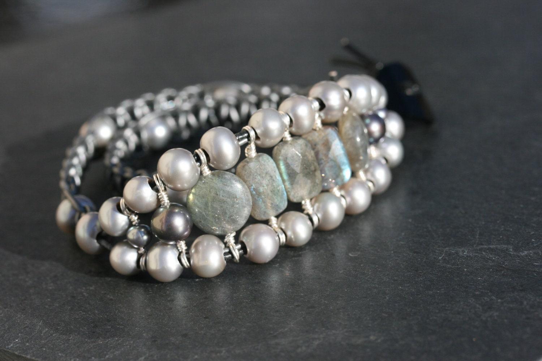 Leather weave, freshwater pearl, labradorite wrap bracelet Rhapsody wirewrapped in fine silver by LibertyOriginals $52