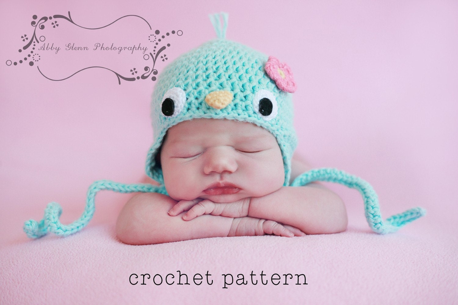 Crochet Patterns Baby Hats With Flowers : PDF Crochet Pattern Baby Bluebird Hat w Flower by ...