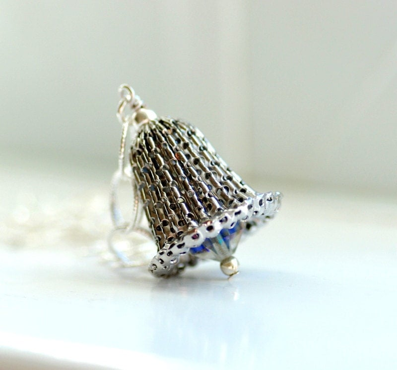 Silver Bell Necklace, Vintage Bell Pendant, Holiday Fashion Under 50, Christmas Jewelry, Sterling Silver - Let the Bells Ring - WildWomanJewelry