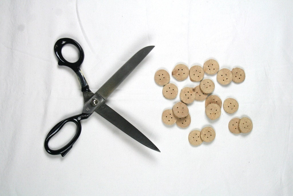 Small wooden buttons - oak wood - set of 20 - wholesale - with 4 holes - craft, fiber, yarn projects, coats, hats, scarfs - by Ligamentum - LIGAMENTUM