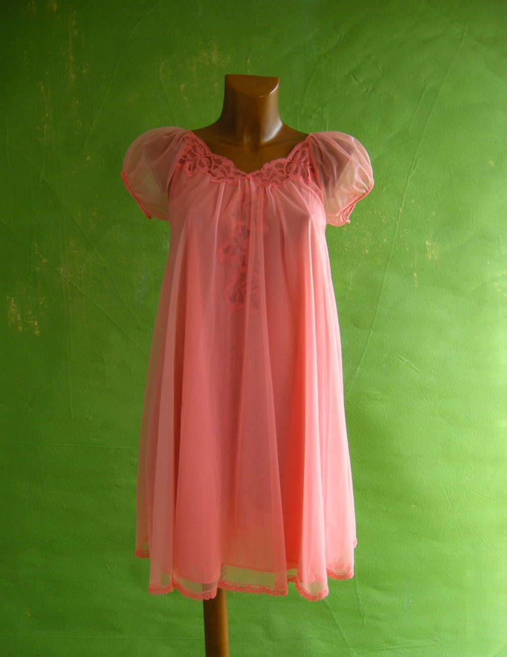 CORAL Chiffon Vintage 60s Babydoll Nightgown by empressjade from etsy.com