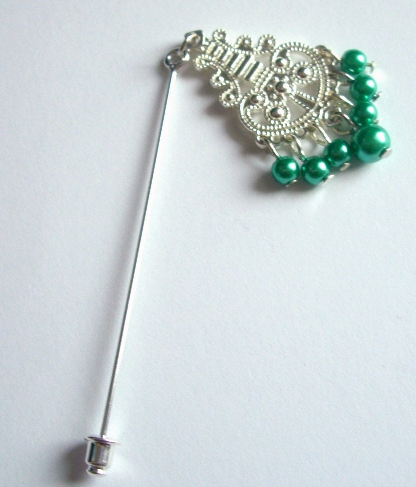 Green Beaded Dangle Pin For HijabScarfHat or by earringstore