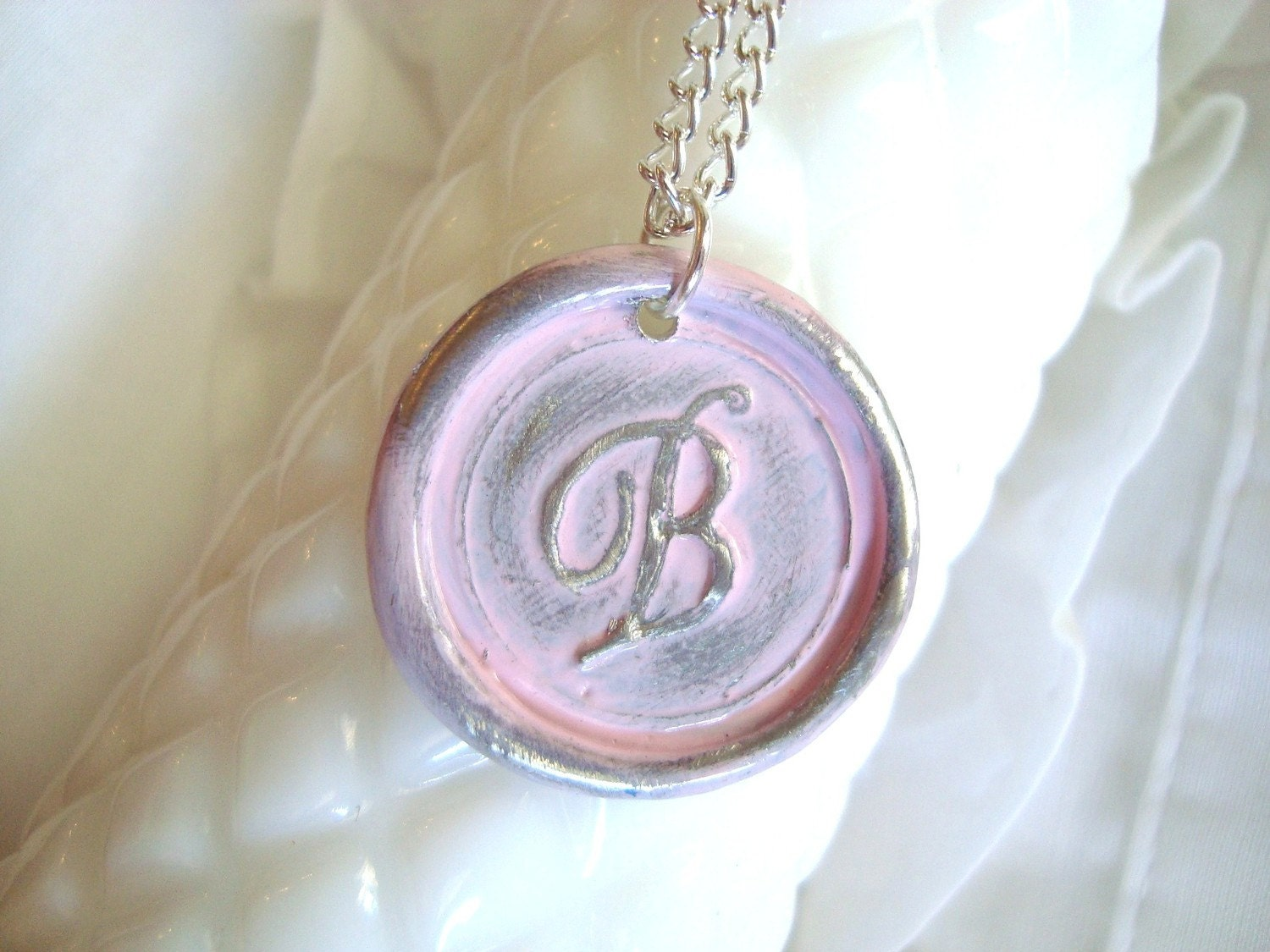 Pale Pink Wax Seal Pendant Necklace - Monogram - A B C D E F G H I J K L M N O P R S T V W Z - perfect for bridesmaids - stamped gift