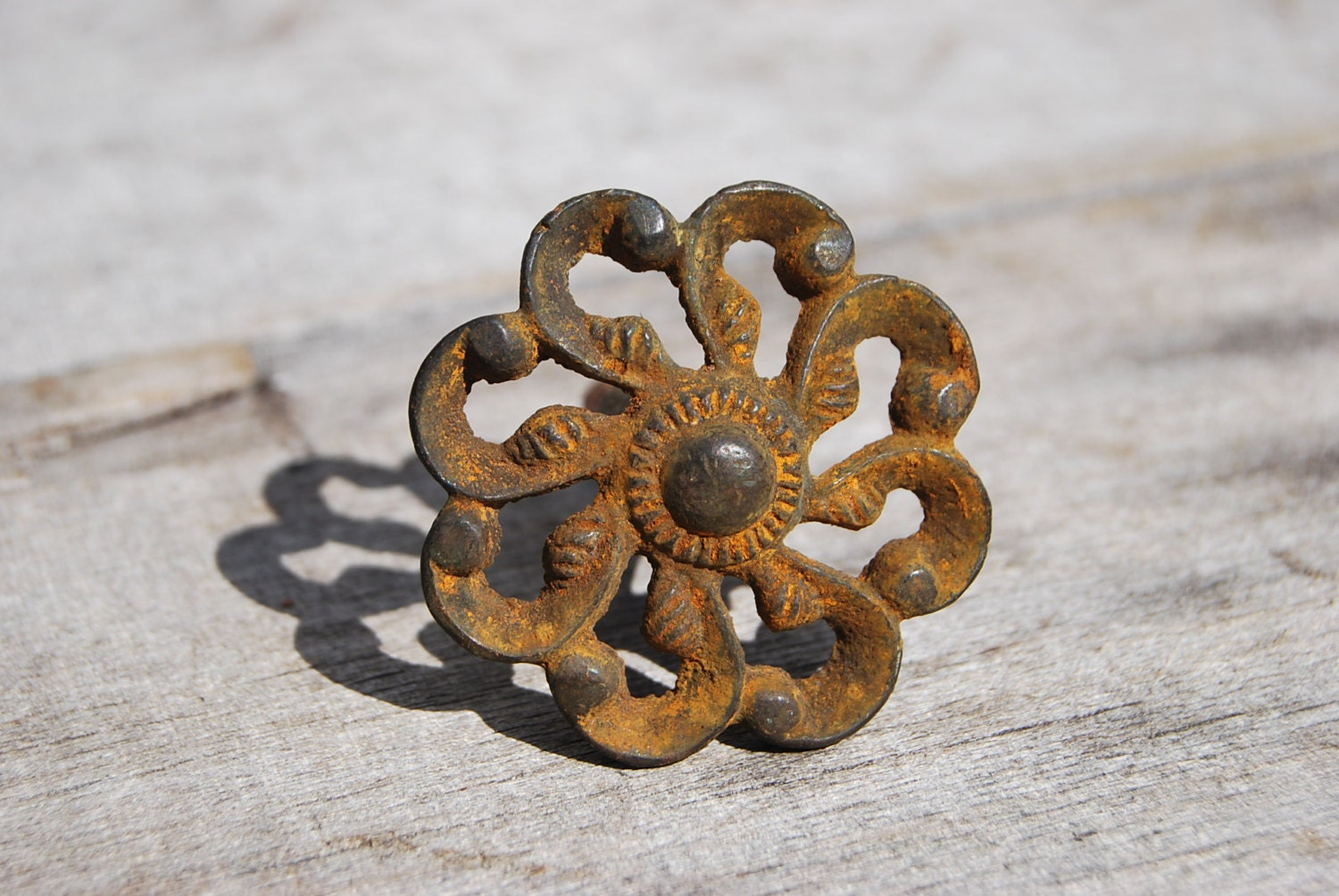 Rustic Cast Iron Flower Drawer Pull - Psychedelphia