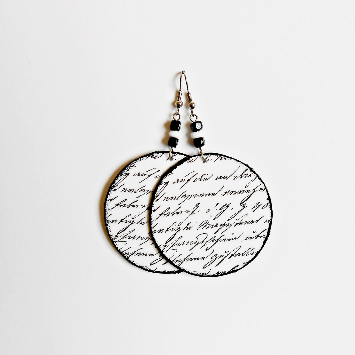 Handmade Decoupage Circle Earrings, Gift for Her, Modern Light Earrings, Jewelry for Woman, Black and White Inscription Earrings
