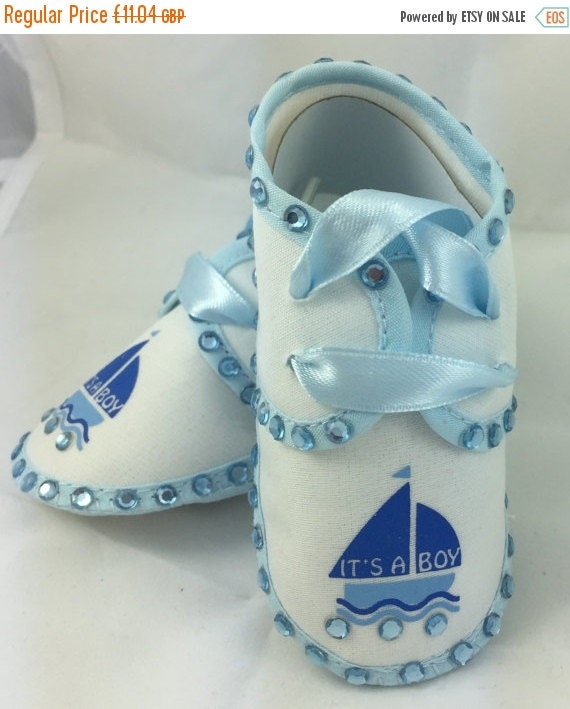 ON SALE Cotton Newborn Baby Infant Its a Boy Embellished Embroidered crib shoes Special Occasion  Pageant Wear Baby Shower Baptism Wedding