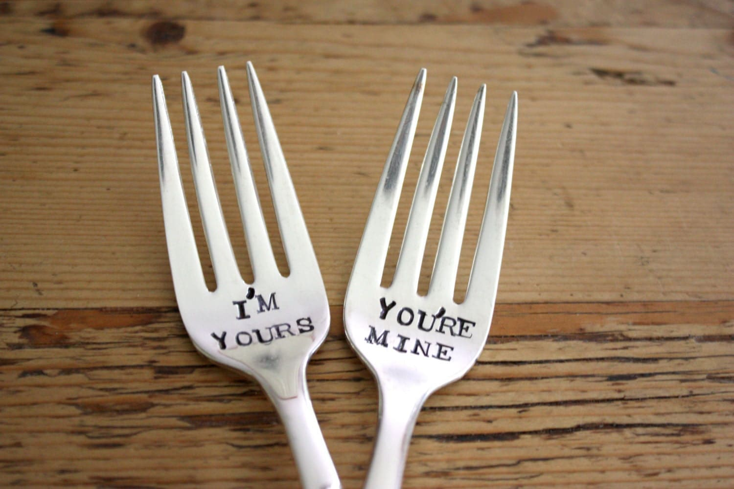 I'm Yours and You're Mine - Wedding Cake Fork Set  - Hand Stamped - Vintage Wedding