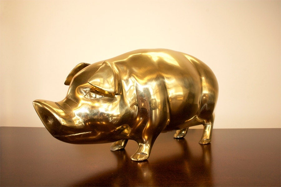 Vintage Extra Large Brass Pig Piggy Bank By Beautifulline
