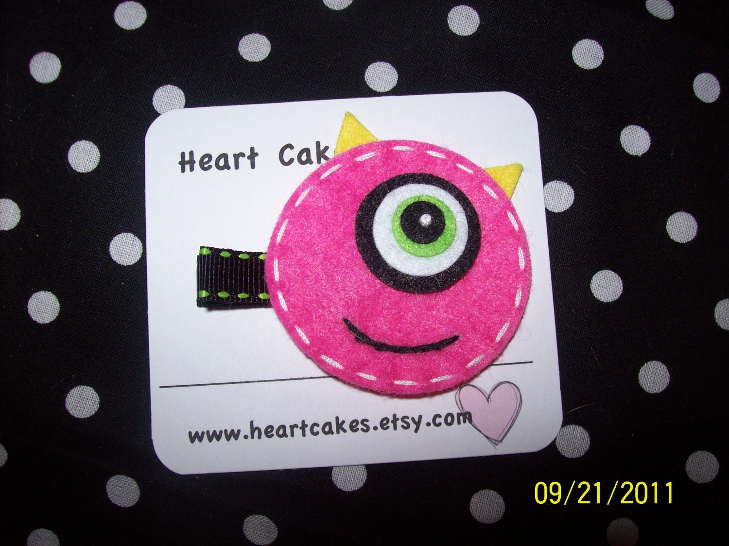 Halloween hair clip with felt pink monster hair clippie