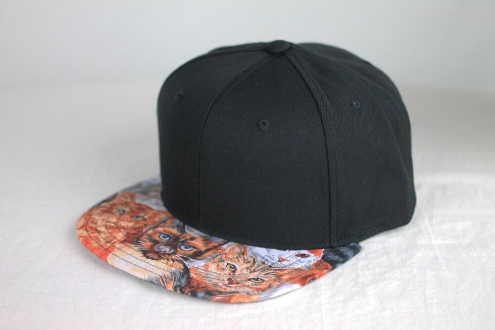 Cats Black Snapback Hat, Blank Cap, Cats All Over Print Fabric