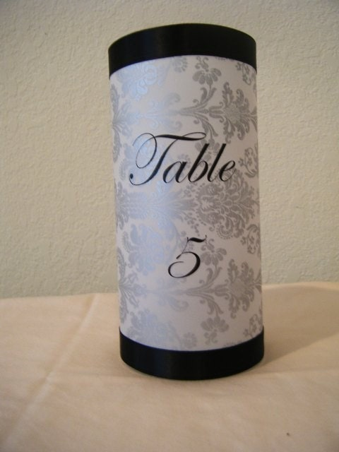 Silver Damask Table Number Luminary