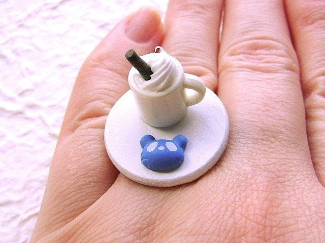Hot Chocolate Panda Chocolate  Ring by SouZouCreations on Etsy