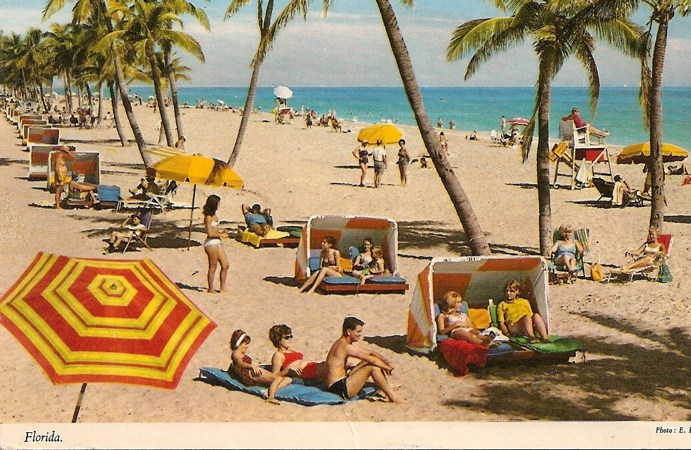 Vintage Beach Scene Florida Fl Old Postcard By Vintagepackrat