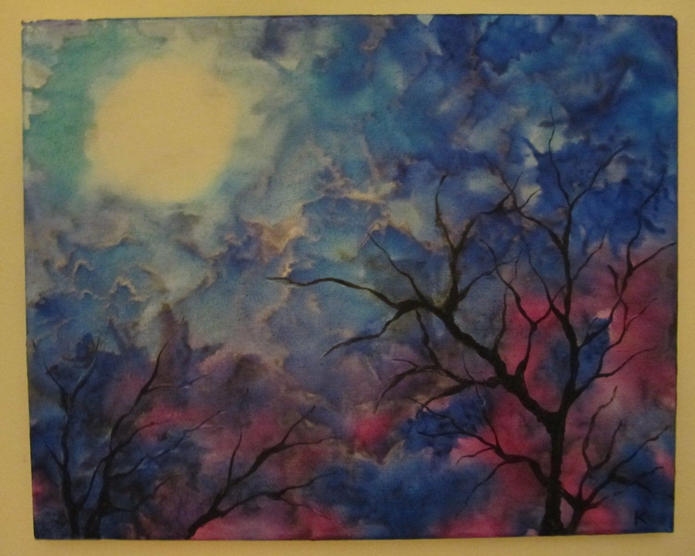 Silver Lining encaustic original painting