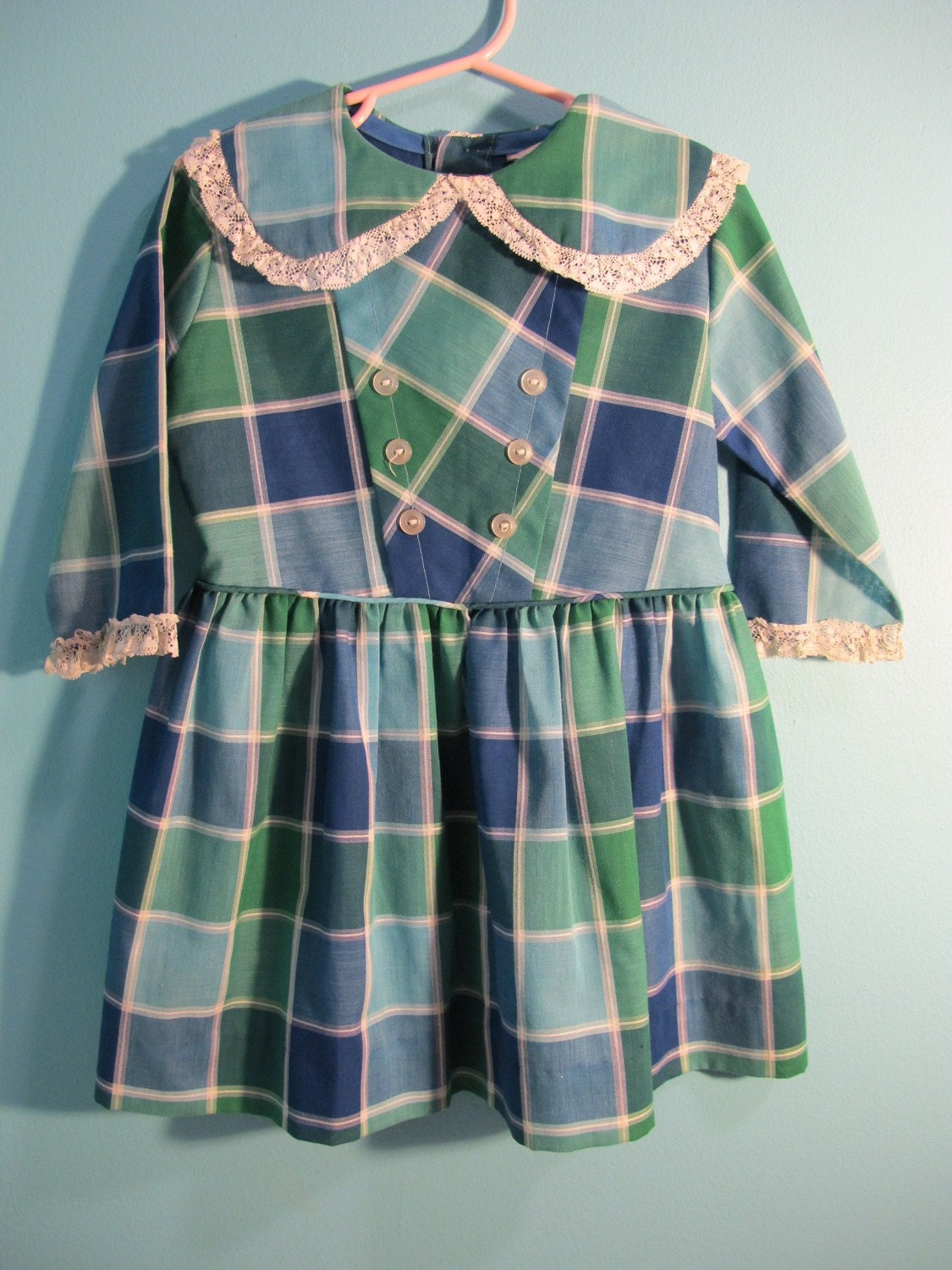 50s 60s Aqua Plaid Girls Dress 4 5