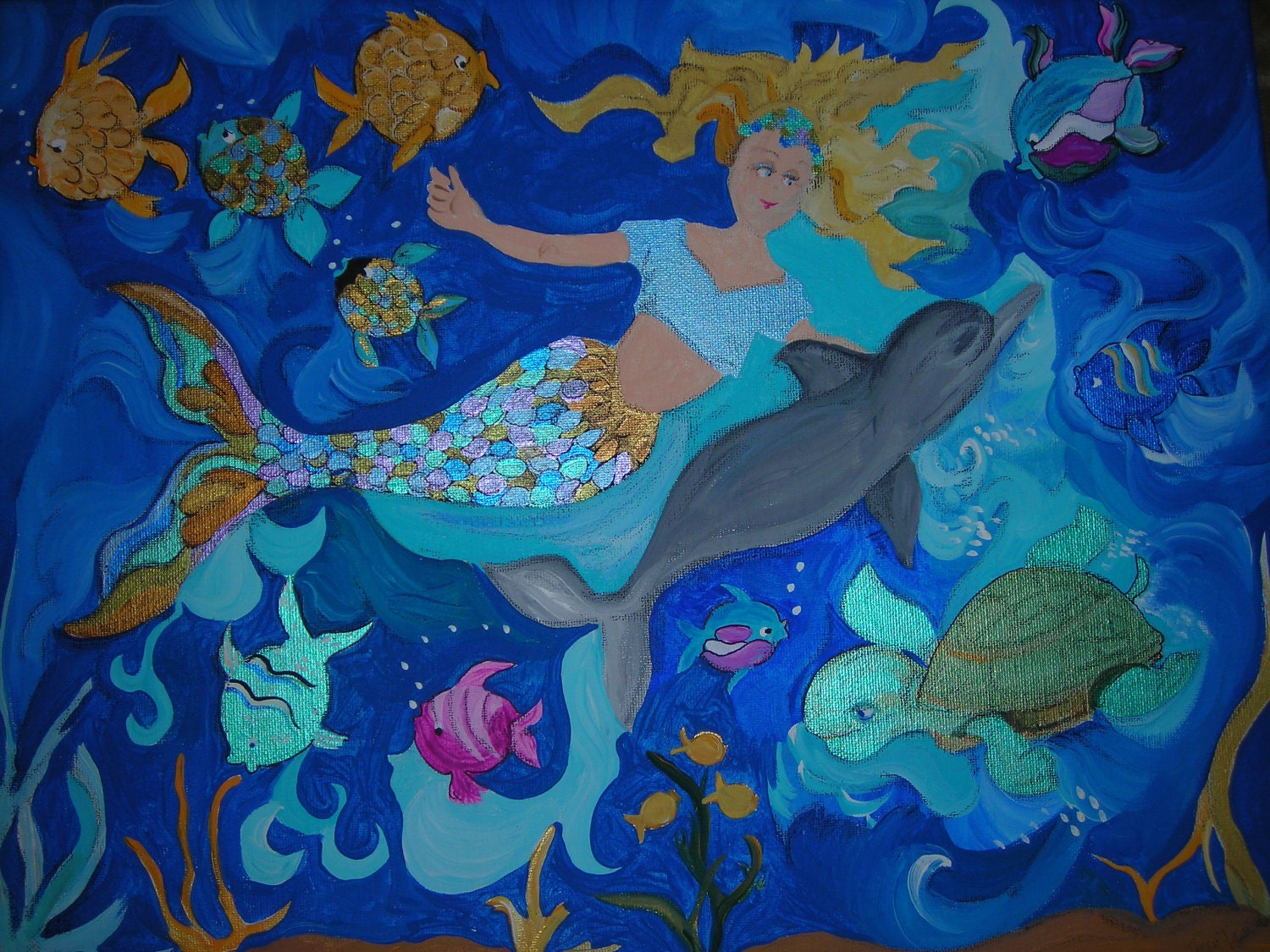 Mermaid Wall Art 20 x 16 Original Acrylic Children Painting  Kids wall art of The Mermaid and the Dolphin