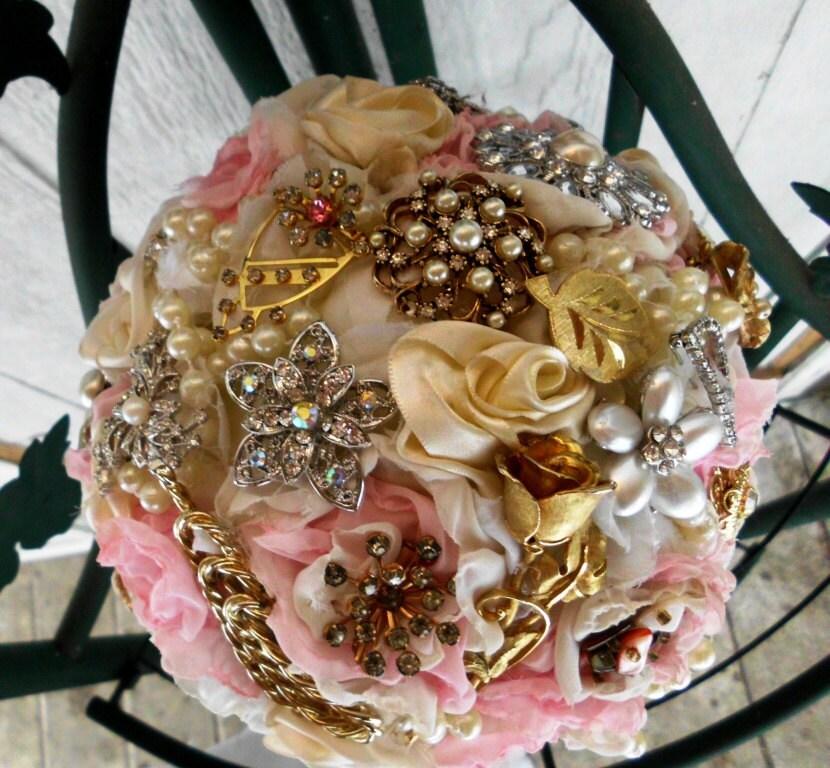 Custom Brooch Wedding Bouquet, Peony, Roses, bouquet brooch, Bridal, Vintage, Rhinestones Pearls Crystals Fabric Flower Bouquet, weddings