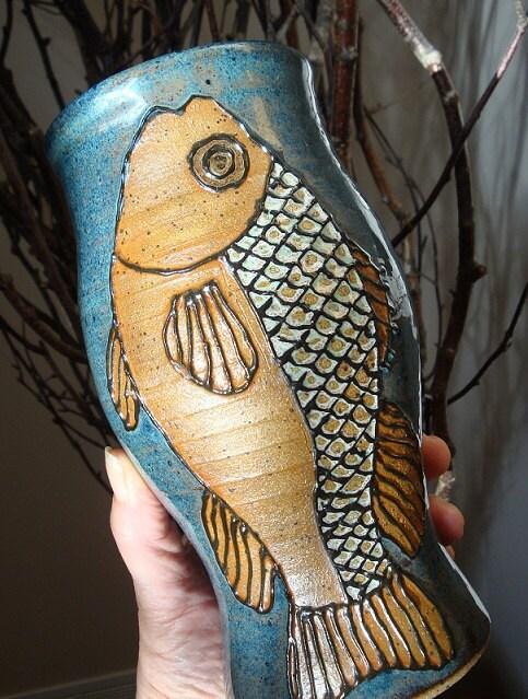 stoneware fish vase by artgirl56.etsy.com