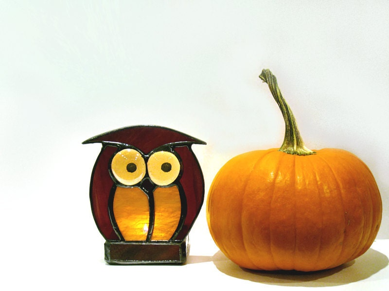 Stained Glass Candle Holder Owl Amber Chocolate Votive Handmade OOAK
