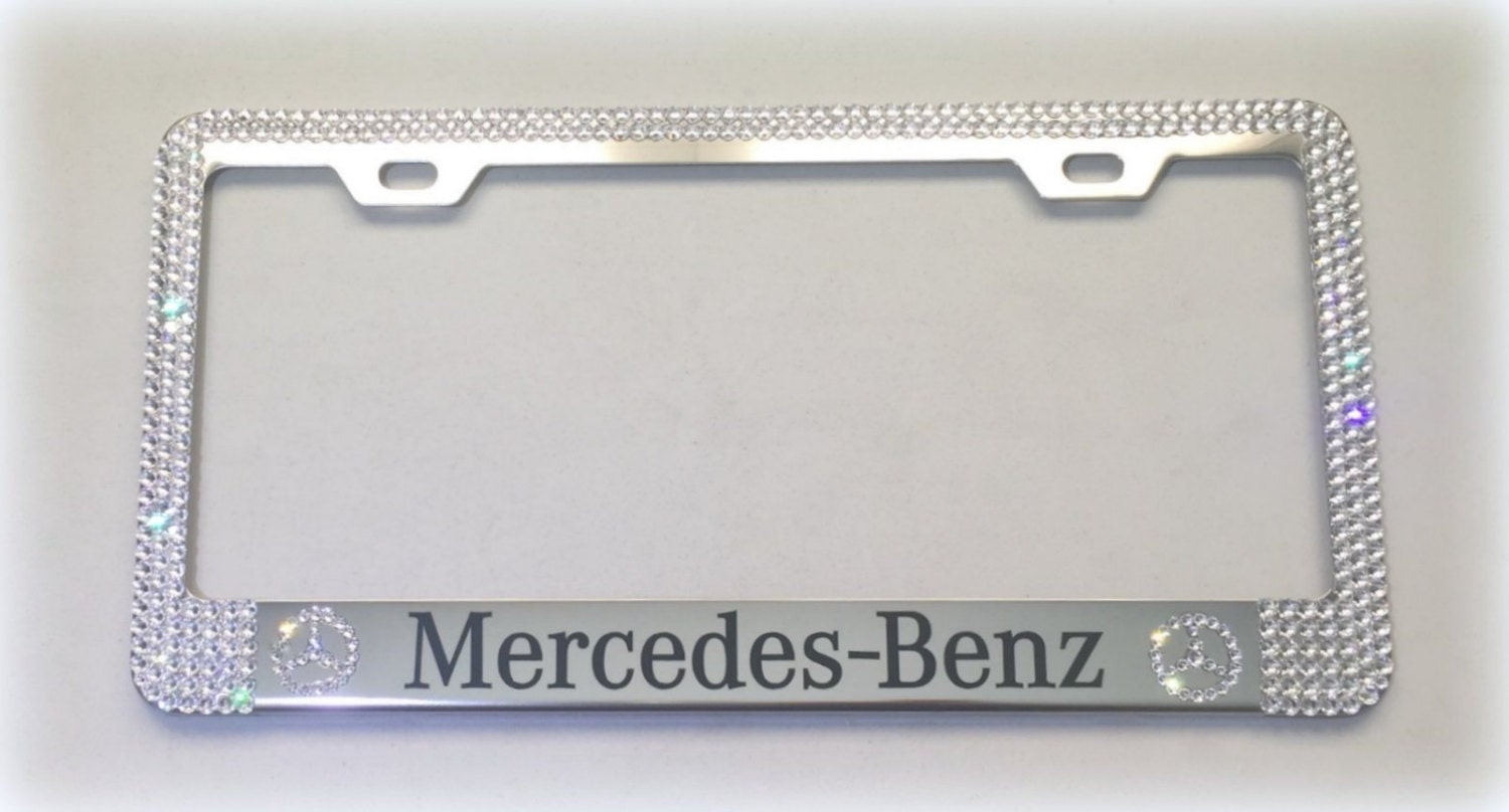 Mercedes License Plate Frame made with Swarovski Crystals - Mercedes ...