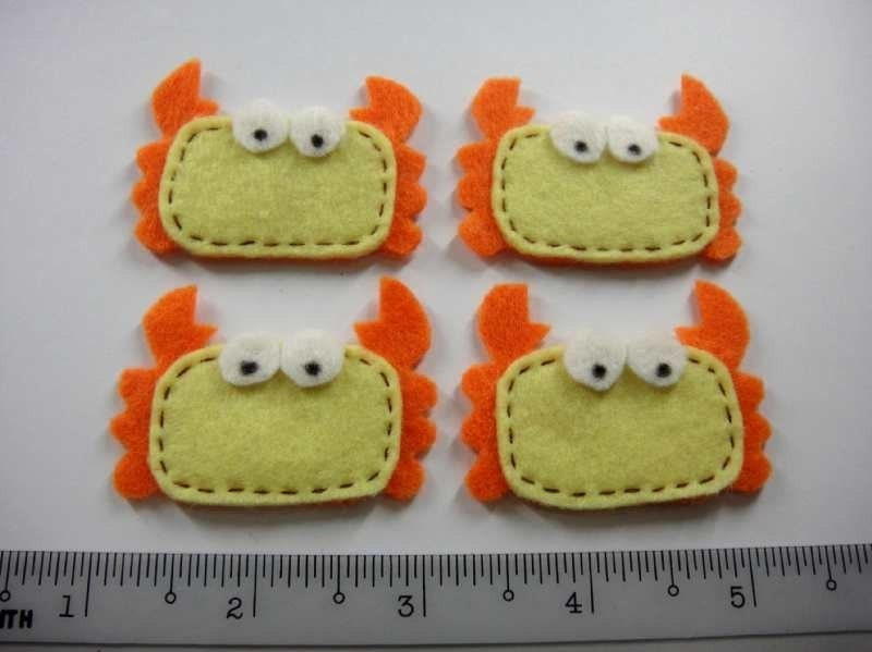 Felt Applique - CRAB - 4 PCS - Handmade
