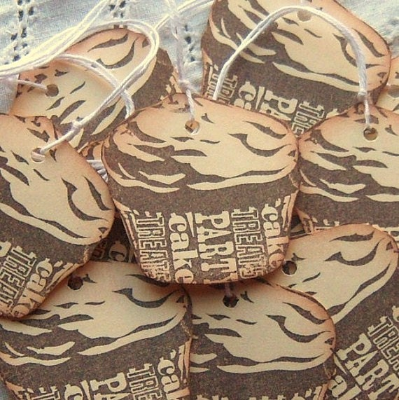 Shaped Chocolate Cupcake Hang Tags - Hand Stamped