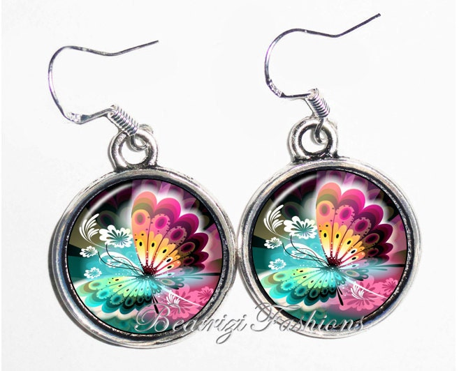 Colorful Butterfly Art Earrings, Photo & Resin Charms Earrings - Silver 925 Hooks - Personalized Double Sided