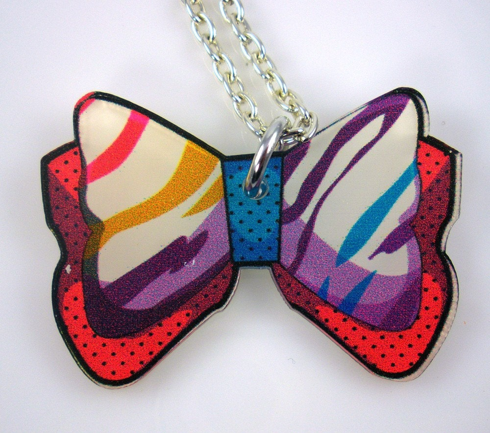 Rainbow Zebra Bow Necklace 18 inches