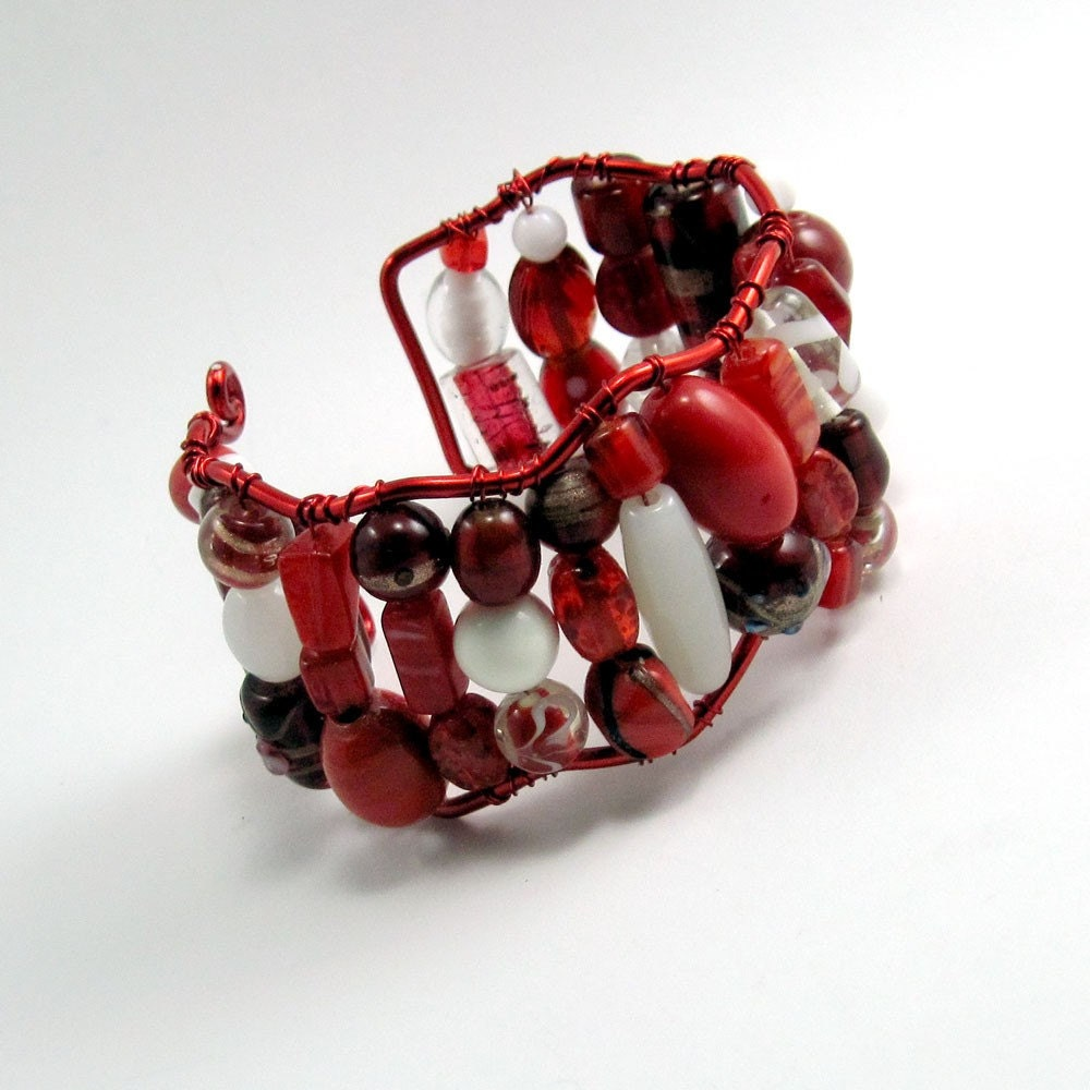 Red and White Freeform Cuff Bracelet