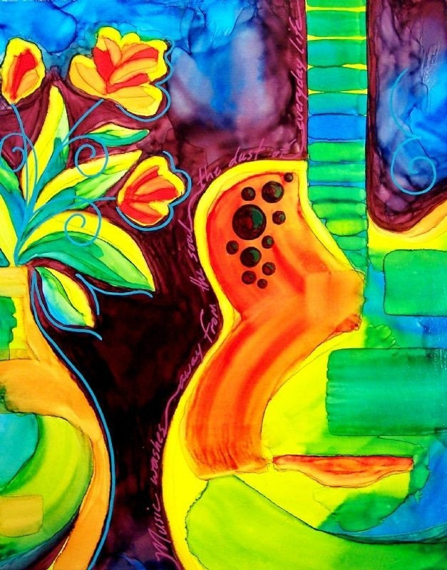 quotes on guitar. NOTES and QUOTES ovation GUITAR - bright BOLD colors. From Lascurain