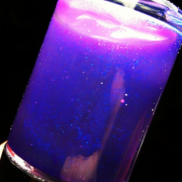 Electric Grape-MINI Size Nail Polish-New neon purple jelly with electric blue micro shimmer-7ml