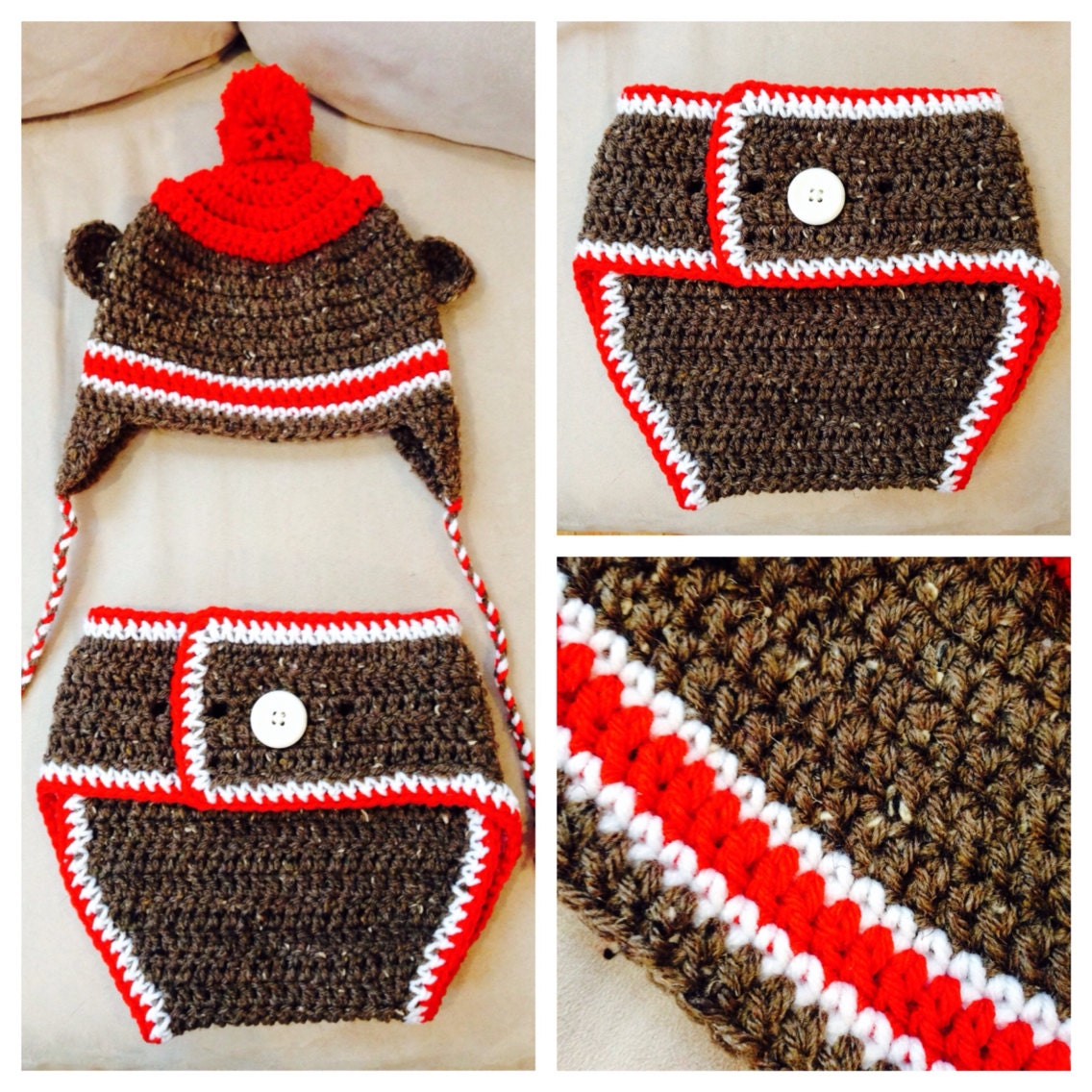 Free Crochet Pattern Monkey Diaper Cover : Crochet Sock Monkey Hat and Diaper Cover 3-6mos by ...
