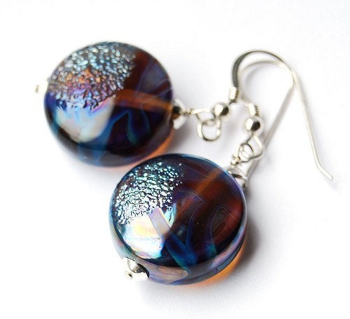 These beautiful earrings have been made using artisan lampwork beads that have many wonderful colours that catch the light