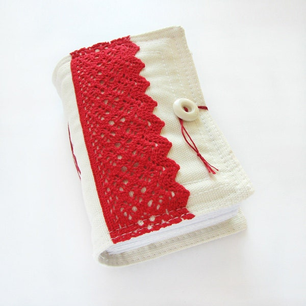 Handmade Journal in Red and White, Fabric Cover, Lacy - ArtStitch