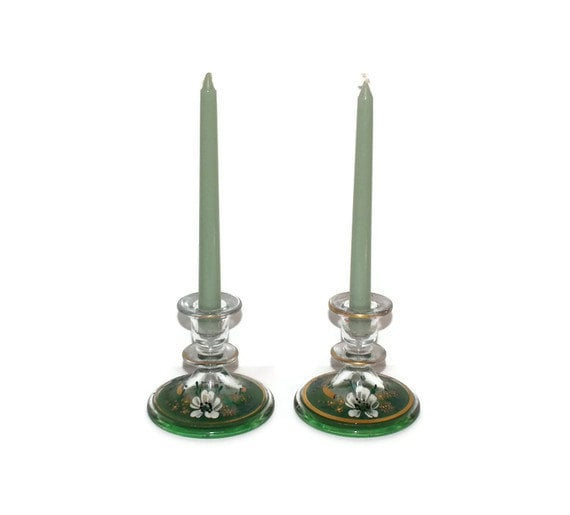 Pair depression glass candle holders - handpainted green gold and white flowers - TouchingThePast