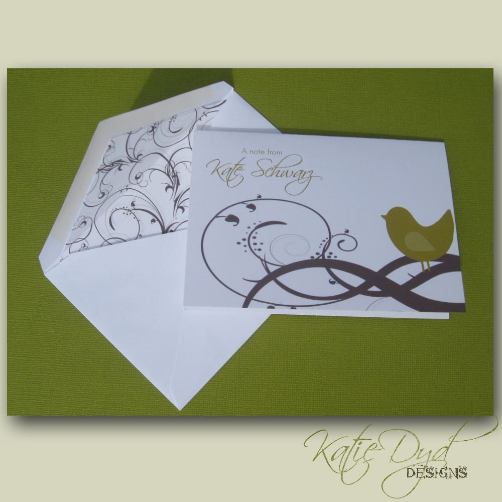 Personalized Stationery- Birdy on a Branch- set of 10 Note Cards