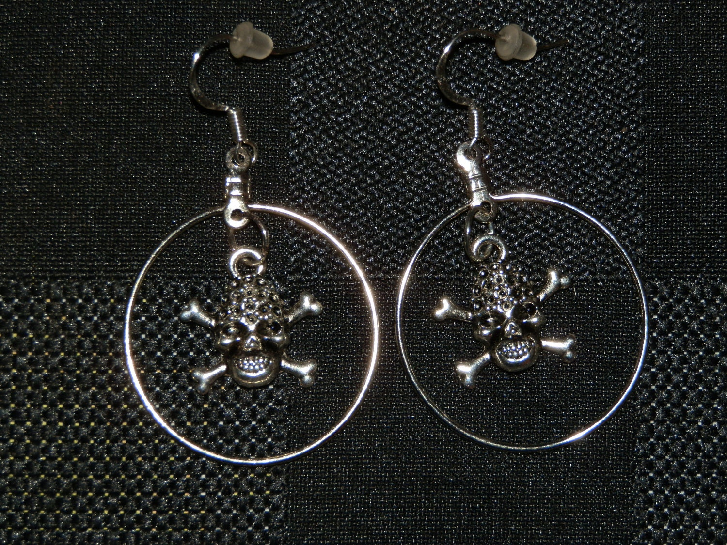 Skull and Crossbone Hoop Earrings