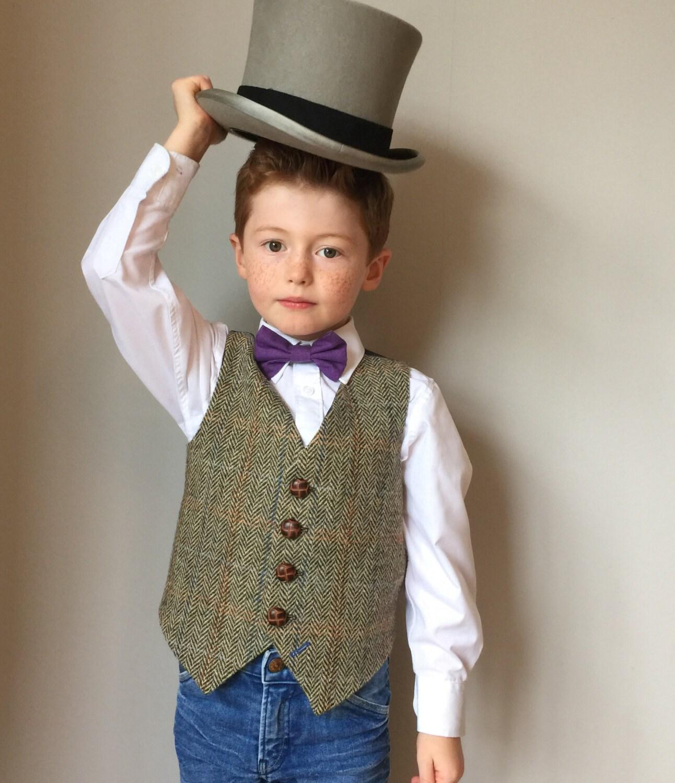 Boys waistcoat handmade in a Harris tweed herringbone by Freds Finerys  Rupert  Harris Tweed