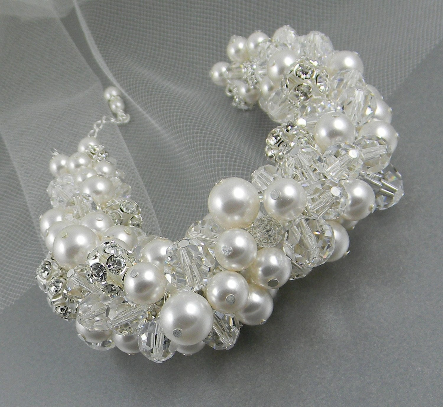Chunky Bridal Bracelet, Pearl Wedding Bracelet, Swarovski Pearls, Swarovski crystals, rhinestones, Antoinette Bracelet