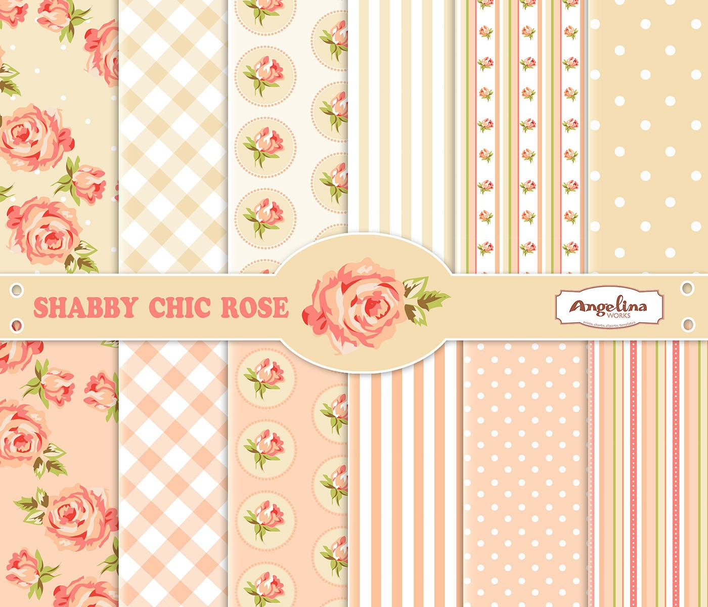 12 Shabby Chic Rose Digital Scrapbook Paper pack by ...