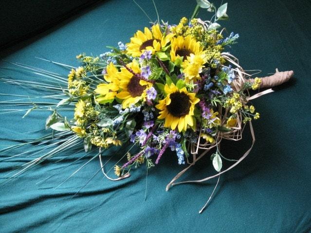 Etsy Mostlyflowers Harvest Bride Sunflower Bridal Bouquet Unique