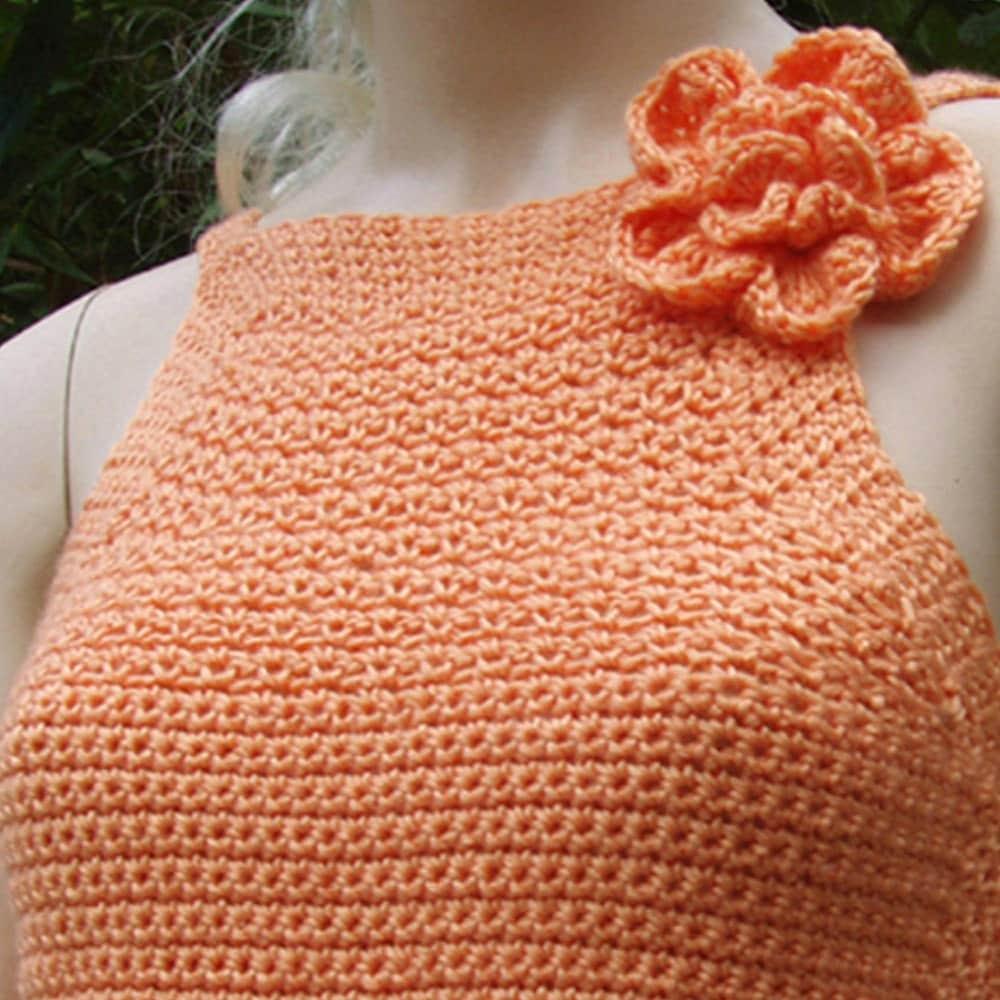Crocheted نارنجی رنگ پریده Backless بالا با ابریشم