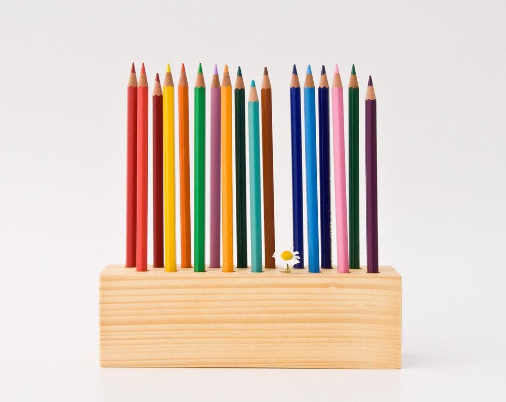 pencil holder wood desk organizer pen holder by lessandmore. Black Bedroom Furniture Sets. Home Design Ideas
