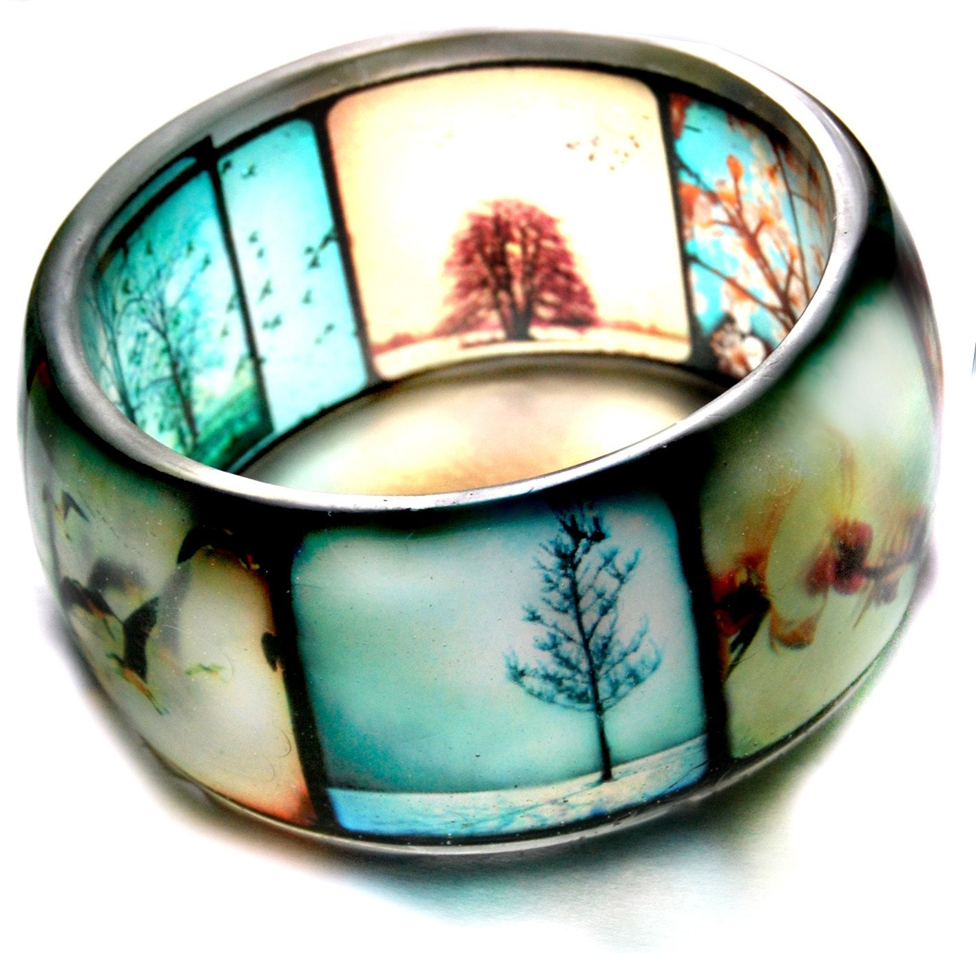 ttv viewfinder hand cast resin bangle bracelet -- made to order - Please read full description before purchasing