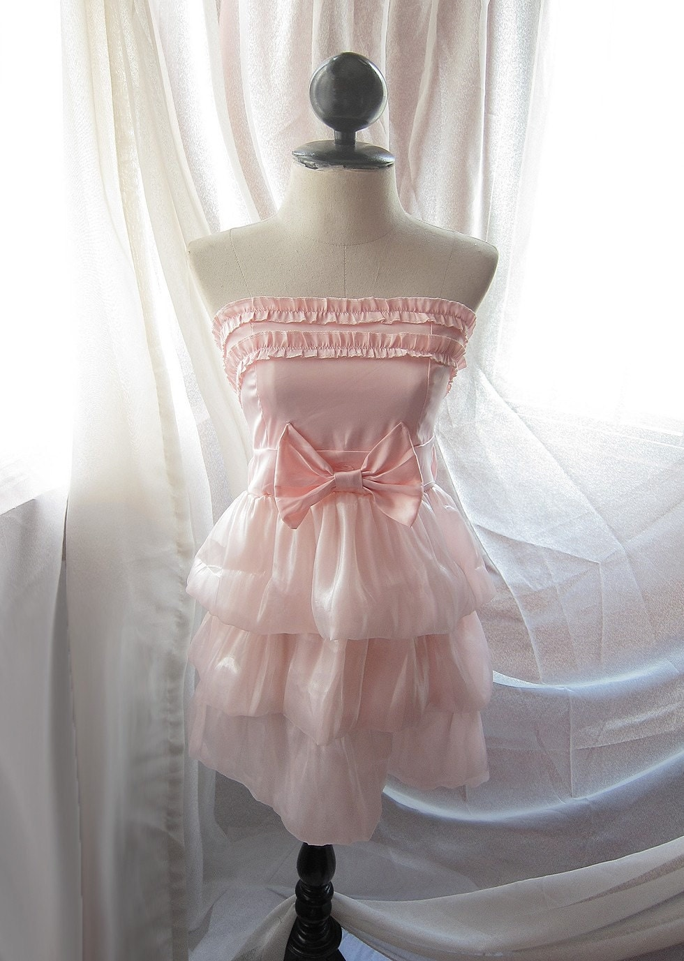 Soft Pale Angel Sweet Blush Candy Pink Ballerina Romantic Dreamy Misty Ruffled Bridal Inspired Cupcake Tiered Puffy Poofy Playful Satin Organza Taffeta Tube Dress