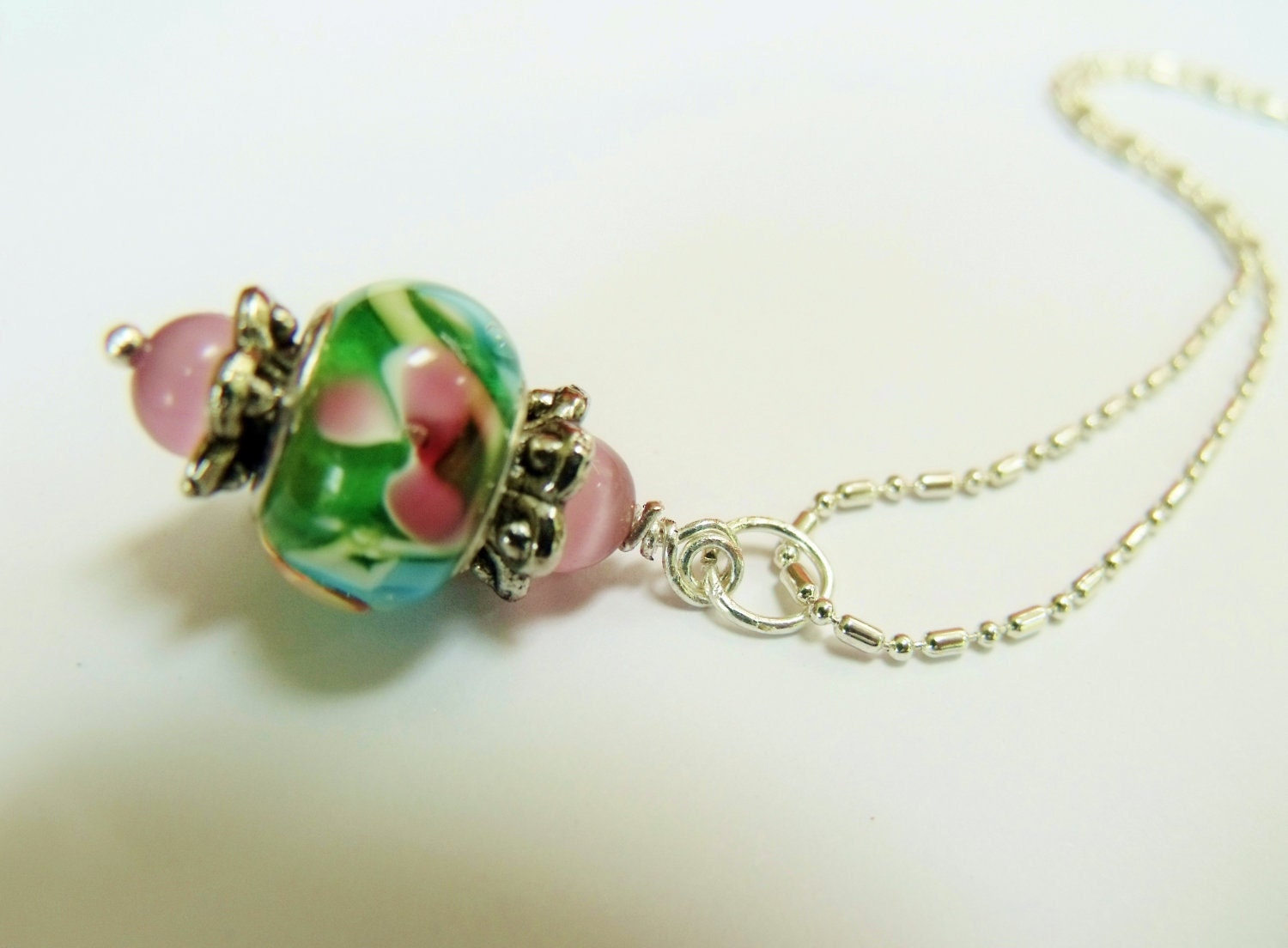 Pink and Green Floral Lamp Work Bead Pendant Necklace