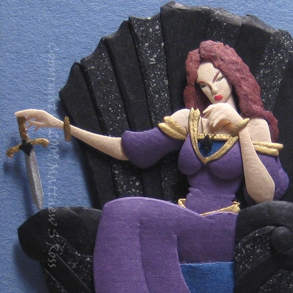 QUEEN OF SPADES Fantasy Fairy Tale ACEO Paper Sculpture Original Matthew Ross