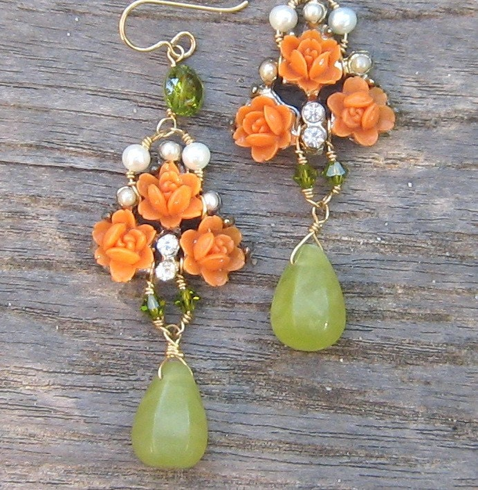 Coral rose earrings