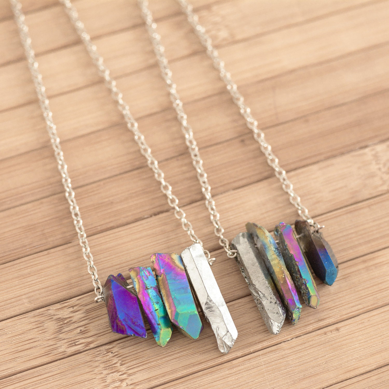 Rainbow Blue Cluster Healing Crystal Necklace Quartz Silver Chain Vintage Boho Galaxy Natural Titanium Quartz Jewellery Bohemian Stone